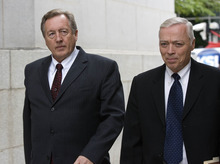 Paul Fraughton   The Salt Lake Tribune Owner of Bugman Pest and Lawn, Ray Wilson, left, with his lawyer, Dennis James, walks into federal court in Salt Lake City on Tuesday, where he entered a guilty plea on behalf of his company to breaking federal pesticide laws in a case tied to the deaths last year of two Layton girls.