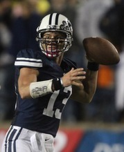 Rick Egan  | The Salt Lake Tribune   BYU QB Riley Nelson looks downfield for a receiver Saturday in Provo vs. San Jose State. When asked if Nelson would start at Oregon State, BYU coach Bronco Mendenhall said Monday that Nelson