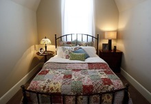 Trent Nelson  |  The Salt Lake Tribune The master bedroom inside the Up house, modeled after the home from the Pixar film