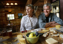 Scott Sommerdorf  |  The Salt Lake Tribune              Rockhill Cheese Creamery owners Jennifer Hines and Pete Schropp during a cheese tasting at the creamery on Thursday. Rockhill has been honored by the National Trust for Historic Preservation, and is one of only a few places in Utah to earn this prestigious award.