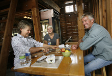 Scott Sommerdorf  |  The Salt Lake Tribune              Rockhill Cheese Creamery owners Jennifer Hines (left) and Pete Schropp sit with intern Abby Phunder during a cheese tasting at the creamery, Thursday, Oct. 13, 2011. Rockhill has been honored  by the National Trust for Historic Preservation, and is one of only a few places in Utah to earn this prestigious award.