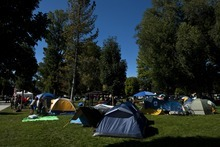 Chris Detrick  |  The Salt Lake Tribune Tents at the Occupy SLC camp at Pioneer Park Tuesday October 18, 2011.