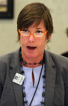 Rick Egan  | The Salt Lake Tribune  Library Director Beth Elder, under fire from some quarters amid a staff revolt, comments during the Salt Lake City Library Board meeting at the Anderson-Foothill Branch Library on Thursday.