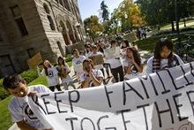 Djamila Grossman  |  The Salt Lake Tribune  People protest the HB497 immigration bill at the City County Building in Salt Lake City, Utah, on Saturday, Sept. 22, 2011.