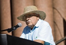 Djamila Grossman  |  The Salt Lake Tribune  Archie Archuleta speaks during a protest against the HB497 immigration bill at the City County Building in Salt Lake City, Utah, on Saturday, Sept. 22, 2011.