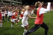 Steve Griffin  |  The Salt Lake Tribune   Alta players storm the field as time expires during the girl's 5A championship soccer game between Alta and Viewmont at Rio Tinto Stadium in Sandy, Utah Friday, October 21, 2011. Alta defeated VIewmont 1-0.