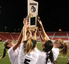 Steve Griffin  |  The Salt Lake Tribune   The Alta hold up the championship trophy after defeating Viewmont in the  girl's 5A state championship soccer at Rio Tinto Stadium in Sandy, Utah Friday, October 21, 2011.
