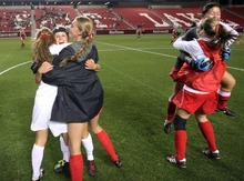 Steve Griffin  |  The Salt Lake Tribune   Alta players celebrate during the girl's 5A championship soccer game between Alta and Viewmont at Rio Tinto Stadium in Sandy, Utah Friday, October 21, 2011. Alta defeated VIewmont 1-0.