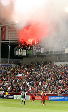 Stephen Holt/ Special to the Tribune Portland Timbers fans pop flares and smoke during their 1-1 tie against Real Salt Lake at Rio Tinto Stadium in Sandy.