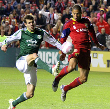 Stephen Holt/ Special to the Tribune Real Salt Lake forward Alvaro Saborio pops in a shot on goal against the Portland Timbers during their 1-1 tie at Rio Tinto Stadium in Sandy.