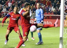 Real Salt Lake forward Arturo Saborio almost knocks in a game-winning goal in the last moments of their 1-1 home tie against the Portland Timbers at Rio Tinto Stadium in Sandy, Utah. Stephen Holt/ Special to the Tribune
