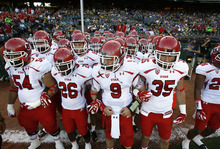 Scott Sommerdorf  |  The Salt Lake Tribune              Utah quarterback Jon Hays (9) with the rest of the Utes as they prepare to take the field. The Cal Bears held a 20-0 halftime lead over Utah at AT&T Park in San Francisco, Saturday, October 22, 2011.
