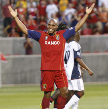 Jamison Olave celebrates his goal in the first half .Real Salt Lake played The New England Revolution at Rio Tinto Stadium  on  Friday, July 2,2010  photo:Paul Fraughton/ The Salt Lake Tribune