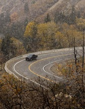 Trent Nelson  |  The Salt Lake Tribune Snow falls in Big Cottonwood Canyon on Tuesday, Oct. 25, 2011.