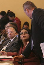 Leah Hogsten  |  Tribune File Photo Sen. Luz Robles, D-Salt Lake City, participated in a meeting Tuesday with federal officials about whether the U.S. Department of Justice will get involved in a lawsuit challenging Utah's HB497, an enforcement-only immigration law. This file photo shows Robles in the Capitol during the legislative session earlier this year.