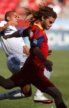 Leah Hogsten  |  The Salt Lake Tribune  Real's Kyle Beckerman battles Chicago's Gonzalo Segares.  Real Salt Lake defeated the Chicago Fire 1-0  at Rio Tinto Stadium Saturday, September 18, 2010, in Sandy.