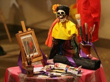 Steve Griffin  |  The Salt Lake Tribune   A memorial to the famous painter, Frida Kahlo, is part of the Utah Cultural Celebration Center's Day of the Dead Altar exhibits in West Valley City on Oct. 24, 2011. The exhibit runs through Nov. 3, 2011.