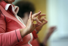 Francisco Kjolseth  |  The Salt Lake Tribune Karen Teter, 70, of Holladay who suffers from arthritis, stretches her fingers as Margaret Crowell teaches her weekly P.A.C.E. (People with Arthritis can Exercise) class at the Mt. Olympus Senior Center.