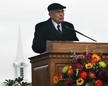 Steve Griffin  |  The Salt Lake Tribune   Elder Dallin H. Oaks, Quorum of the Twelve Apostles, presides during groundbreaking ceremony for the Payson Temple on Oct. 8, 2011.
