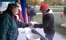 Erin Alberty | The Salt Lake Tribune Michael O'Hare serves oatmeal at the Occupy SLC kitchen.