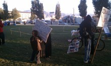 Erin Alberty | The Salt Lake Tribune Eleven-year-old Bentley preps for the Occupy SLC march from Pioneer Park to a Salt Lake City police station.