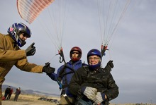 Djamila Grossman  |  The Salt Lake Tribune  Joe Herring, a Navy veteran, and pilot Jonathan Jefferies get a thumbs-up as they get ready to paraglide at South Side Flight Park, Point of the Mountain in Draper, Utah, on Saturday, Oct. 29, 2011. Davis and other veterans paired up with pilots of the Utah Hang Gliding and Paragliding Association to fly.