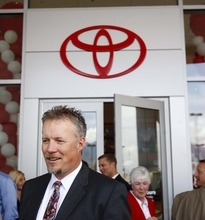 Trent Nelson  |  The Salt Lake Tribune Company president Greg Miller was all smiles after the ribbon-cutting formally opened the new Larry H. Miller Toyota/Scion dealership in Murray on Wednesday.