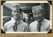 Special Collections at J. Willard Marriott Library, University of Utah  Masami Hayashi, now of Salt Lake City, spent time in Australia, intepreting and translating for the Army's Military Intelligence as it investigated war crimes by Japanese soldiers and officers. He is pictured here on the right with a colleague, Derek Teramae, on the left.