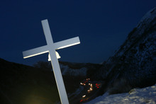 Salt Lake City,UT--2/6/06--6:19:39 PM- A cross overlooking I-80 in memorial of Trooper Daniel W. Harris. American Atheists Inc. has challenged the crosses as inappropriate endorsement of religion.   Chris Detrick/Salt Lake Tribune File #_2CD5368