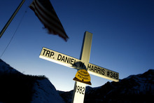 Salt Lake City,UT--2/6/06--6:12:05 PM- A cross overlooking I-80 in memorial of Trooper Daniel W. Harris. American Atheists Inc. has challenged the crosses as inappropriate endorsement of religion.   Chris Detrick/Salt Lake Tribune File #_2CD5305