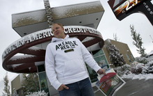 Francisco Kjolseth  |  The Salt Lake Tribune Weston Kubbe, 32, of Murray is happy to have an extra $125 in his pocket, courtesy of a Bank Transfer Day promotion by Mountain America Credit Union. Kubbe saw a newspaper advertisement about the