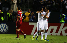 Kim Raff |  The Salt Lake Tribune Real Salt Lake player Will Johnson reacts as LA Galaxy players (left) Juninho and Todd Dunivant celebrating scoring a goal during the Western Conference Championship at The Home Depot Center in Carson, CA on Sunday, November 6, 2011.