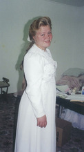 Elissa Wall at 14  in her wedding dress,  the night before she was married by polygamous sect leader Warren S. Jeffs to her  19-year-old cousin,  Allen Steed.  This photo was used as evidence in Jeffs'  rape as an accomplice trial.