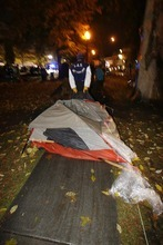 Trent Nelson  |  The Salt Lake Tribune A tent is dragged off as Salt Lake City police cleared the Occupy Salt Lake tent city from Pioneer Park in Salt Lake City, Utah, Saturday, November 12, 2011.