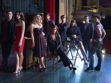 SMASH -- Season:1 -- Pictured: (l-r) Jack Davenport as Derek Wills, Katharine McPhee as Karen Cartwright, Megan Hilty as Ivy Lynn, Raza Jaffrey as Dev Sundaram, Debra Messing as Julia Houston, Christian Borle as Tom Levitt, Anjelica Huston as Eileen Rand, Brian d'Arcy James as Frank Houston, Jaime Cepero as Ellis -- Photo by: Mark Seliger/NBC