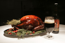 Kim Raff | The Salt Lake Tribune Turkey brined in beer by David Cole, co-owner of Epic Brewing, and prepared by Viet Pham, chef of Forage in Salt Lake City.