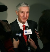 Steve Griffin  |  The Salt Lake Tribune   Jerry Sloan talks with media members as he attends the Utah Sports Hall of Fame banquet at EnergySolutions Arena in Salt Lake City, Utah Wednesday, November 16, 2011. Sloan along with Phil Johnson, Doug Toole, Natalie Williams and Annette Ausseresses were all inducted into the hall of fame.
