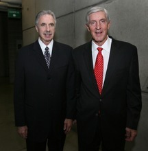 Steve Griffin  |  The Salt Lake Tribune   Jerry Sloan and Phil Johnson attend the Utah Sports Hall of Fame banquet at EnergySolutions Arena in Salt Lake City, Utah Wednesday, November 16, 2011. Sloan and Johnson were inducted into the hall of fame along with Doug Toole, Natalie Williams and Annette Ausseresses.