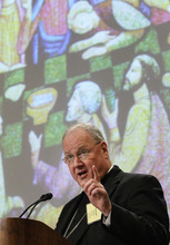 Archbishop Timothy Dolan, of New York, president of the United States Conference of Catholic Bishops, speaks at the conference's annual fall assembly in Baltimore, Monday, Nov. 14, 2011. (AP Photo/Patrick Semansky)