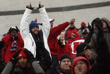 Chris Detrick  |  The Salt Lake Tribune Utah fans celebrate after a touchdown during the first half of the game at Martin Stadium at Washington State University Saturday November 19, 2011. The game is tied 7-7.