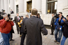 Trent Nelson  |  The Salt Lake Tribune Bill Gates arrives at the Frank E. Moss United States Courthouse in Salt Lake City, Utah, Tuesday, November 22, 2011 for his second day of testimony in a lawsuit between Novell and Microsoft.
