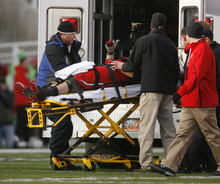 Trent Nelson  |  The Salt Lake Tribune Utah's Sam Brenner gives a thumbs up to the crowd as he is put into an ambulance in the second half, Utah vs. Colorado football game at Rice-Eccles Stadium in Salt Lake City on Friday, Nov. 25, 2011