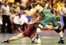 Ben Kjar wrestling at NCAA National Tournament in 201. Courtesy image