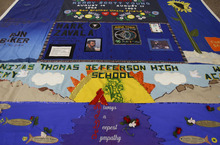Trent Nelson  |  The Salt Lake Tribune The AIDS Memorial Quilt was on exhibit in the Taggart Student Center at Utah State University in Logan on Wednesday. The quilt, founded in 1987, is the largest ongoing community arts project in the world, with more than 40,000 panels, each memorializing a life lost to AIDS.