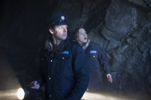 Irish police (Richard Coyle, left, and Ruth Bradley) encounter something scary in