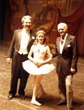 Ballet West dancer Melanie Watts, with her father, conductor Ardean Watts, and Ballet West founder Willam Christensen in 1978.  Courtesy Melanie Watts Robbins