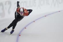 Canada's Christine Nesbitt competes during the women's 1000 meters race of the World Cup speed skating in Heerenveen, northern Netherlands, Sunday Dec. 4, 2011. (AP Photo/Peter Dejong)