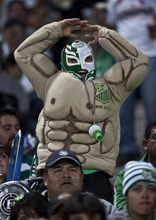 A Santos' soccer fan celebrates after his team scored against Morelia at a Mexican league soccer match in Torreon, Mexico, Saturday Dec. 3, 2011.  Santos won and advanced to the final championship game. (AP Photo/Christian Palma)