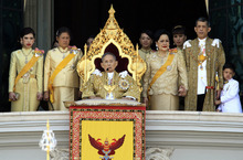 In this photo provided by the Bureau of the Royal Household, Thai King Bhumibol Adulyadej, center, appears to speak at the balcony of the Grand Palace during a ceremony celebrating his 84th birthday in Bangkok, Thailand, Monday, Dec. 5, 2011. Queen Sirikit, front row third right, Crown Prince Vajiralongkorn, second right, Crown Princess Sirindhorn, second left, and Princess Chulabhorn, left, are also seen. The king has called for his countrymen to unite amid the worst floods in half a century. The revered monarch spoke Monday to mark his birthday and amid deep political divisions plaguing the country. (AP Photo/Bureau of the Royal Household) EDITORIAL USE ONLY