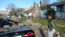 Kristen Moulton   The Salt Lake Tribune   Bianka Reyes surveys the damage to the 1999 Toyota Camry belonging to her mother and step-father outside a home on Harrison Boulevard in Ogden. Passersby stopped frequently Thursday to snap photos of the car crushed by a maple tree during high winds.